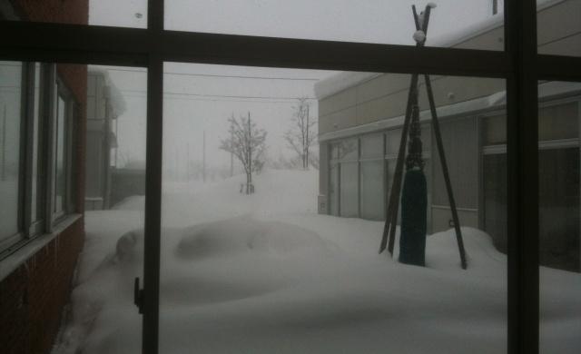 支援センターからの外を見る